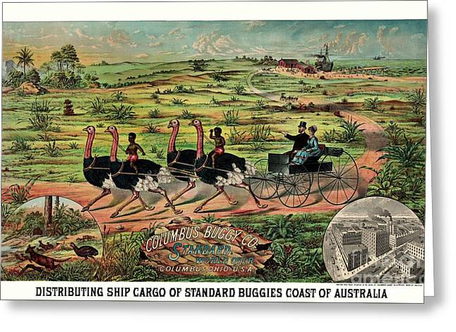 Coloured Greeting Cards - Distributing ship cargo of buggies Australia  Greeting Card by Heidi De Leeuw