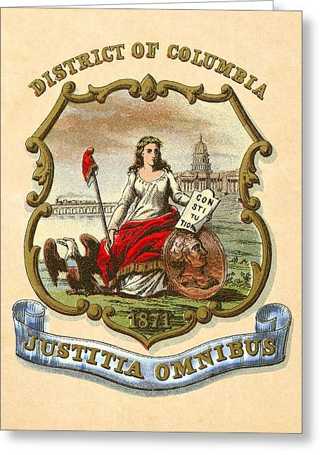 1876 Digital Greeting Cards - District of Columbia Historical Coat of Arms circa 1876 Greeting Card by Serge Averbukh