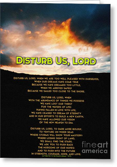 Uplifting Drawings Greeting Cards - Disturb Us Lord Greeting Card by Celestial Images
