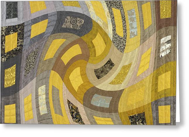 Abstract Quilt Tapestries - Textiles Greeting Cards - Disturbances 1 Greeting Card by Marilyn Henrion