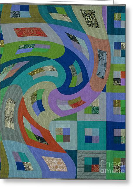 Abstract Quilt Tapestries - Textiles Greeting Cards - Disturbances 6 Greeting Card by Marilyn Henrion