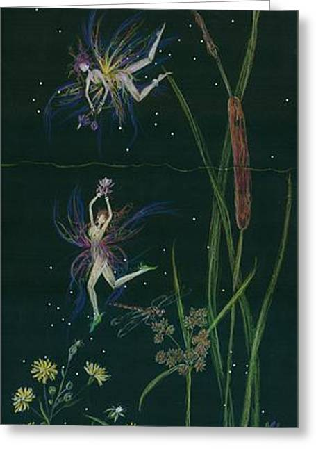 Aster Drawings Greeting Cards - Ditchweed Fairy Cattails Greeting Card by Dawn Fairies