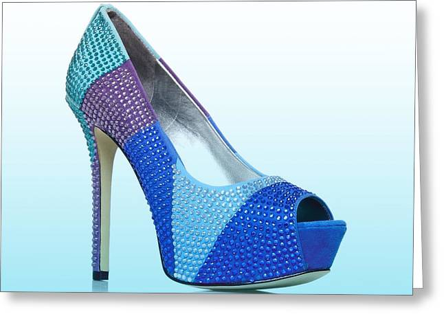 Open Toe Shoes Greeting Cards - Diva Blue Shoes Greeting Card by The Jones Collection