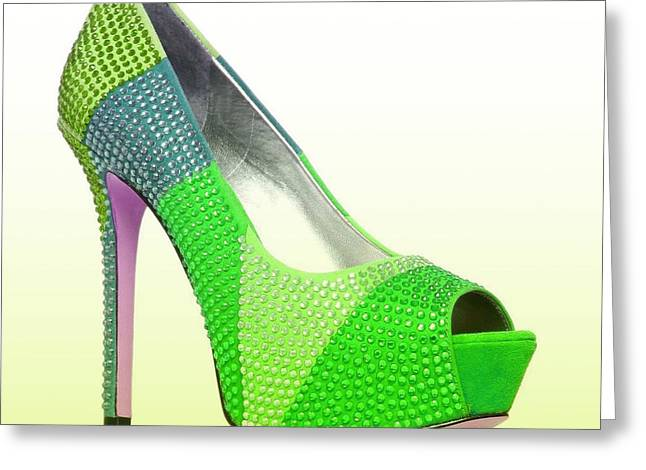 Open Toe Shoes Greeting Cards - Diva Green Shoes Greeting Card by The Jones Collection