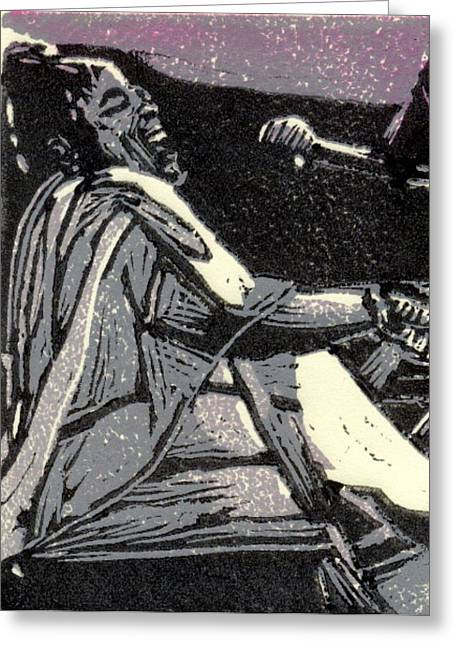 Linocut Reliefs Greeting Cards - Diva Greeting Card by John Brisson