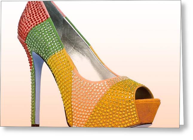 Open Toe Shoes Greeting Cards - Diva Orange Shoes Greeting Card by The Jones Collection
