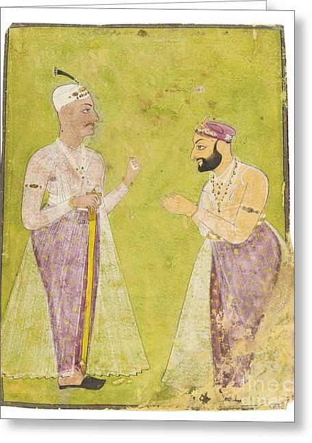 Divan Greeting Cards - Divan Munir-al-mulk Offering Respect To Nizam Ali Khan Asaf Jah Ii Greeting Card by Celestial Images