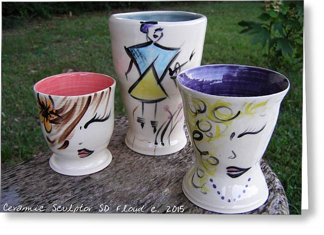 Hand Thrown Pottery Greeting Cards - Divas Greeting Card by Sandi Floyd
