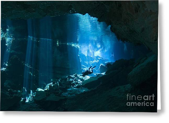 Divers Greeting Cards - Diver Enters The Cavern System N Greeting Card by Karen Doody