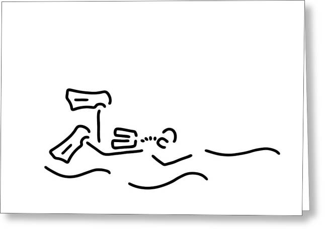 Snorkel Drawings Greeting Cards - Divers Dip Oxygen Greeting Card by Lineamentum