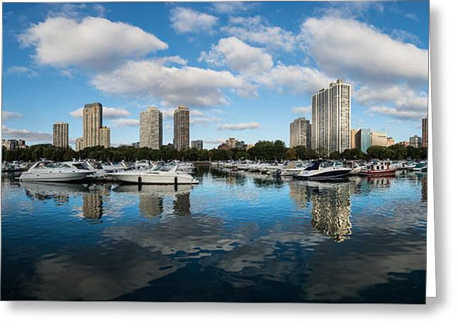 Docked Boat Greeting Cards - Diversey Harbor Chicago Greeting Card by Steve Gadomski