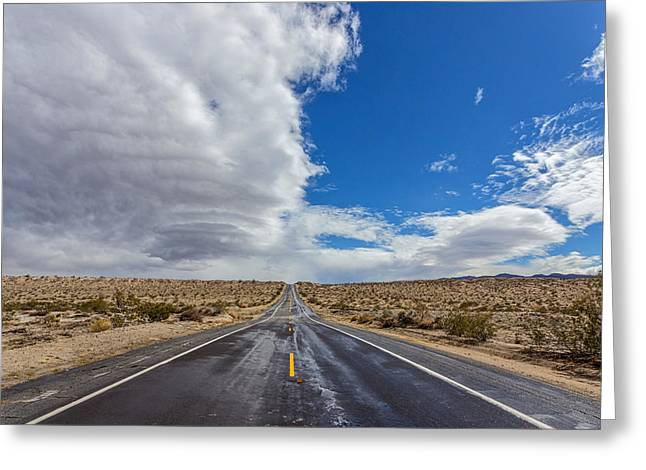 Yellow Line Greeting Cards - Divided Highway Greeting Card by Peter Tellone