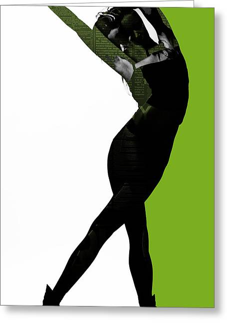 Dancing Girl Greeting Cards - Divided Greeting Card by Naxart Studio