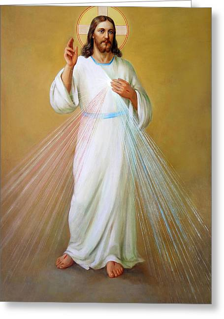 Catholic Art Greeting Cards - Divina Misericordia. Divine Mercy Greeting Card by Svitozar Nenyuk