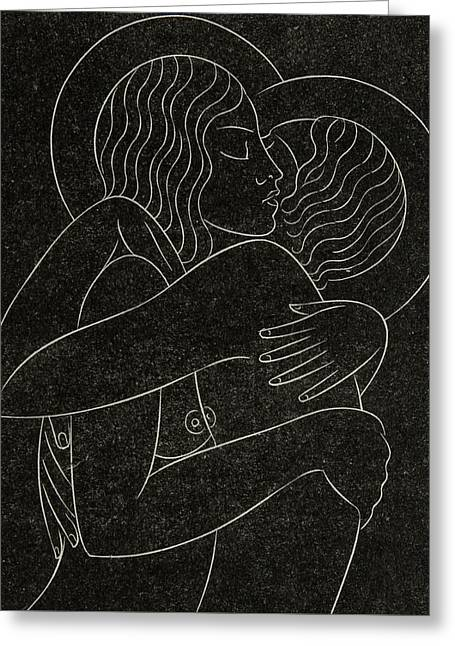Wrapped Around Greeting Cards - Divine Lovers Greeting Card by Eric Gill
