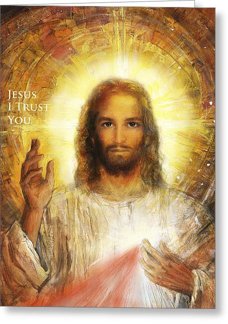 Divine Mercy Greeting Cards - Divine Mercy - Sacred Heart of Jesus 4 Greeting Card by Terezia Sedlakova Wutzay