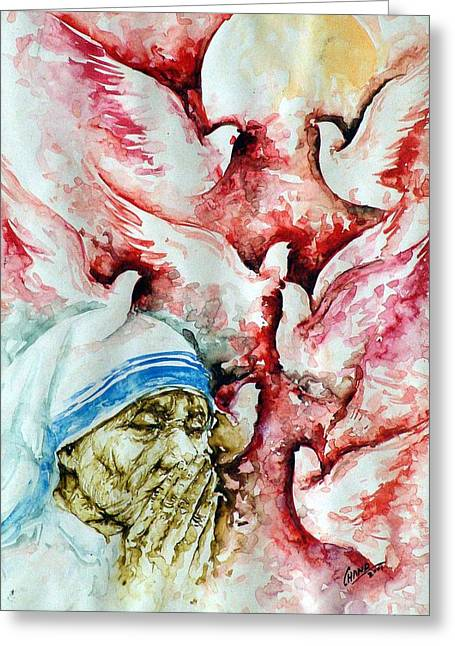 Spirtual Greeting Cards - Divine Mother Teresa Greeting Card by Pc