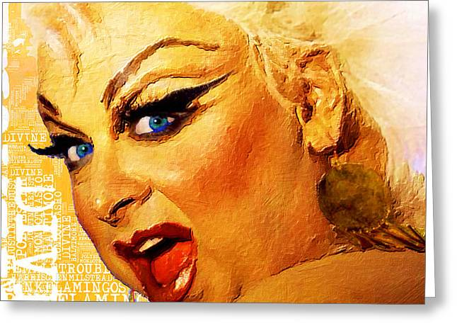 Drag Mixed Media Greeting Cards - Divine Greeting Card by Tony Rubino