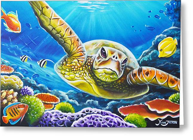 Diving In Greeting Card by Yeshe Jackson