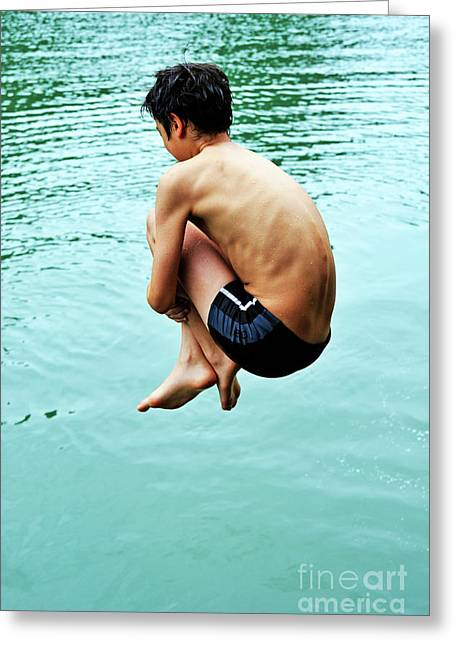 Children Only Greeting Cards - Diving into water Greeting Card by Sami Sarkis
