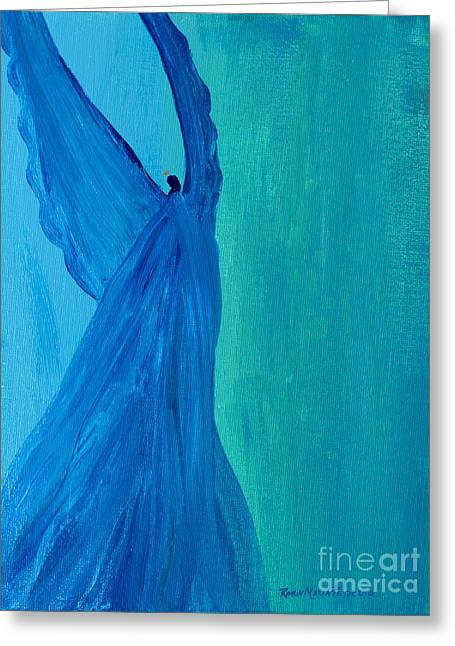 Angel Blues Greeting Cards - Divinity Angel Greeting Card by Robin Maria  Pedrero