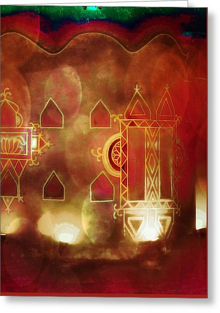 Candle Lit Greeting Cards - Diwali Card Lamps and Murals Blue City India Rajasthan 2h Greeting Card by Sue Jacobi