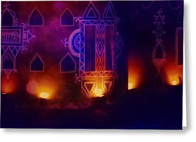 Candle Lit Greeting Cards - Diwali Card Lamps and Murals Blue Orange India Rajasthan 2f Greeting Card by Sue Jacobi