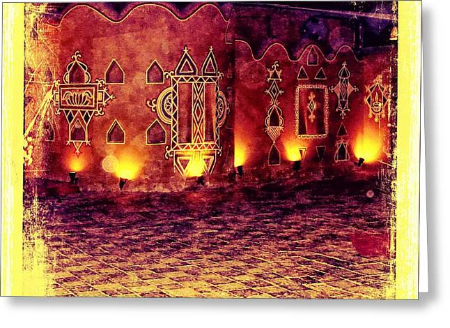 Candle Lit Greeting Cards - Diwali Lamps and Murals Blue City India Rajasthan 2a Greeting Card by Sue Jacobi