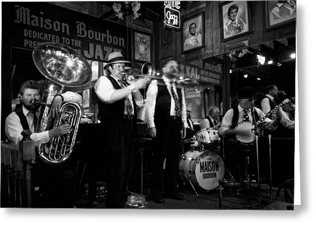 Night Cafe Greeting Cards - Dixieland Jazz On Bourbon Street Greeting Card by Mountain Dreams
