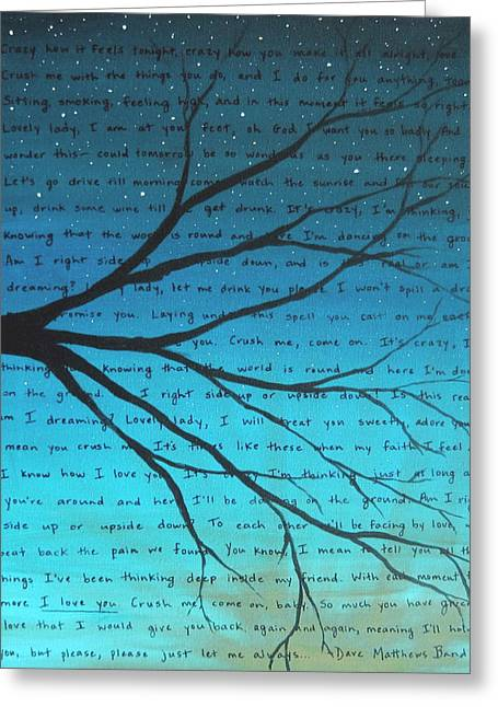 Dmb Greeting Cards - DMB Crush Teal 8x10 Greeting Card by Michelle Eshleman