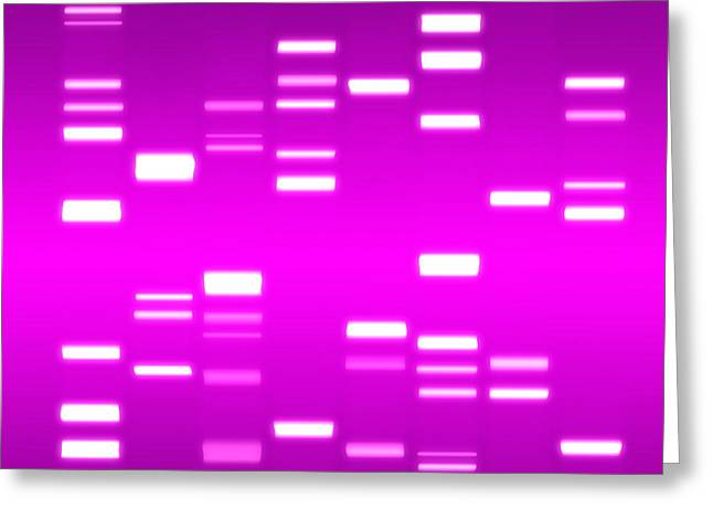 Dna Magenta Greeting Card by Michael Tompsett