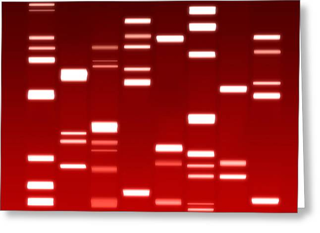 DNA red Greeting Card by Michael Tompsett