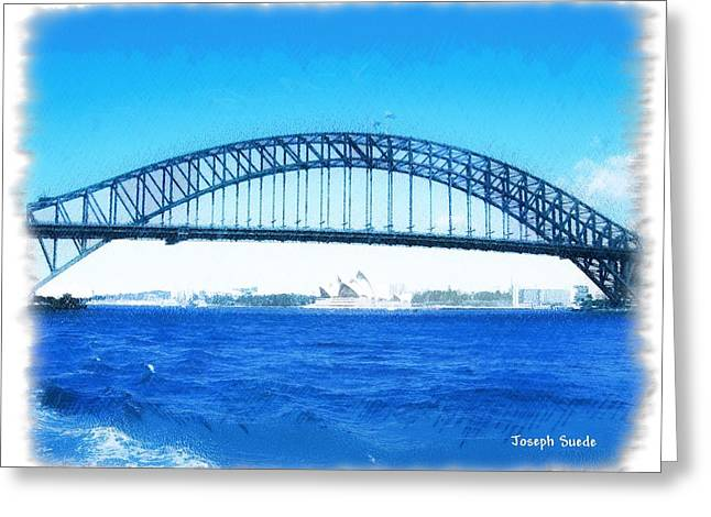 Darling Harbour Greeting Cards - DO-00057 Harbour Bridge Greeting Card by Digital Oil