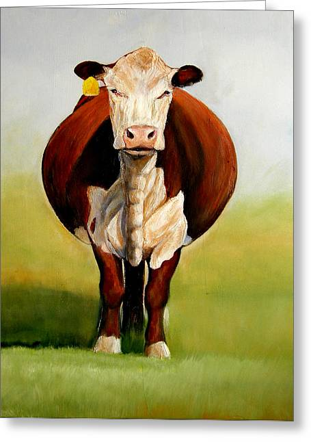 Hereford Greeting Cards - Do I Look Fat Greeting Card by Toni Grote