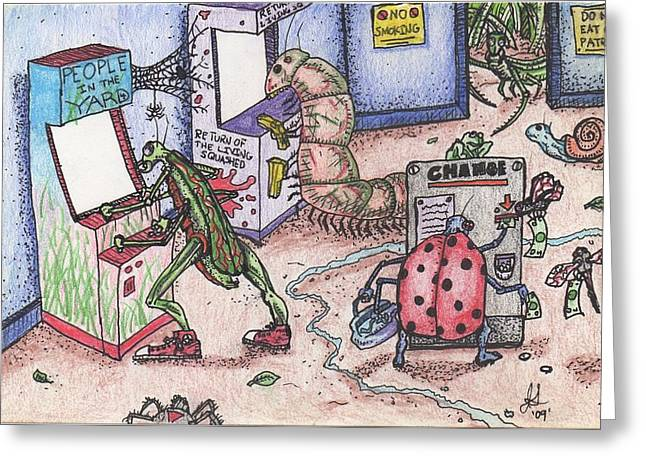 Funny Video Game Greeting Cards - Do Not Eat Our Patrons Greeting Card by Jeremiah Strickland