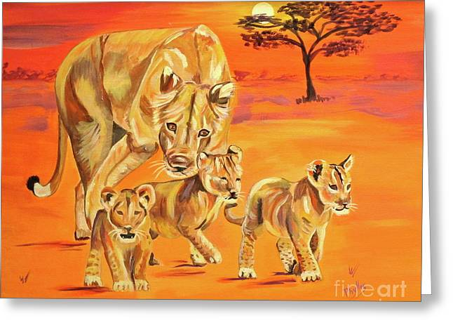 Lioness Greeting Cards - Do What Mom Says Greeting Card by Phyllis Kaltenbach
