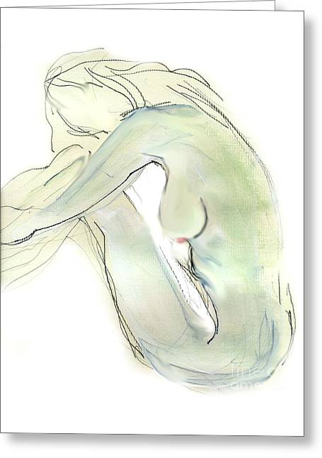 Do You Think - Female Nude Greeting Card by Carolyn Weltman