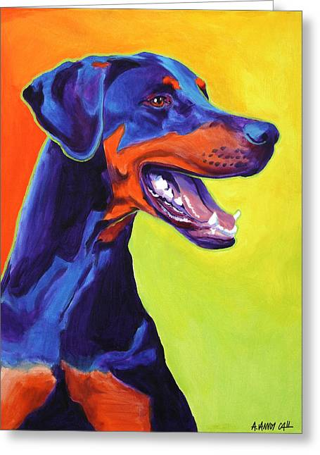 Alicia Vannoy Call Paintings Greeting Cards - Doberman - Miracle Greeting Card by Alicia VanNoy Call