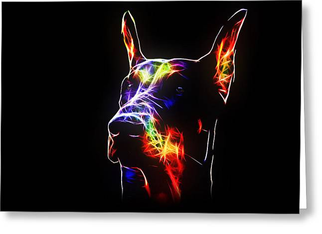 Bright Art Of Dogs Greeting Cards - Doberman Greeting Card by Denis Bajan