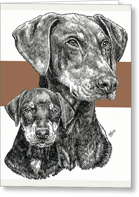 Working Dog Mixed Media Greeting Cards - Doberman Uncropped Greeting Card by Barbara Keith