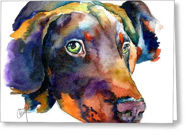 Puppies Paintings Greeting Cards - Doberman Watercolor Greeting Card by Christy  Freeman