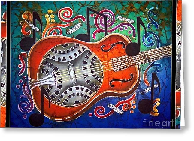 Bluegrass Tapestries - Textiles Greeting Cards - Dobro - Slide Guitar-Bordered Greeting Card by Sue Duda