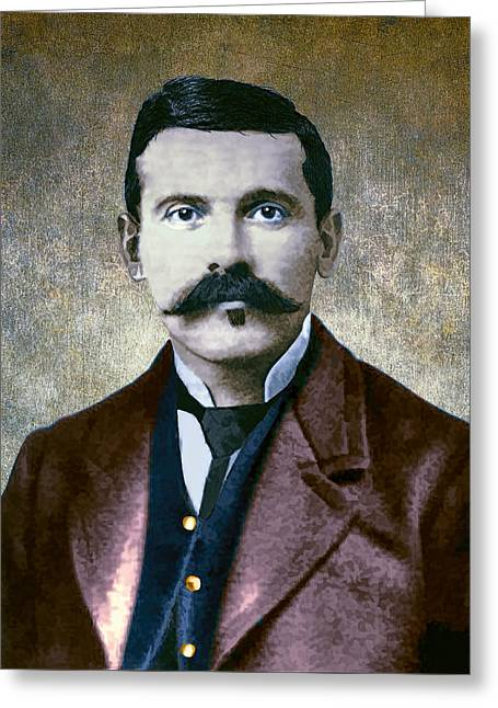Shootist Greeting Cards - Doc Holliday Painterly Greeting Card by Daniel Hagerman