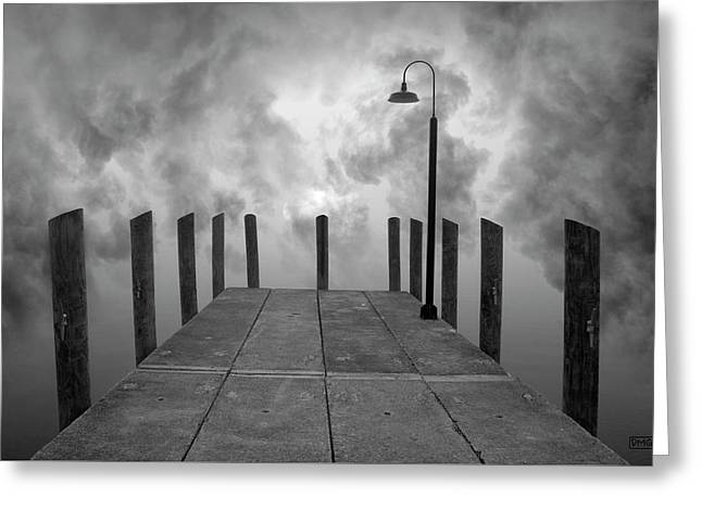 Dock And Clouds Greeting Card by Dave Gordon