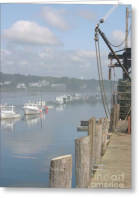 Maine Greeting Cards - Dock at Cape Porpoise Greeting Card by David Bishop