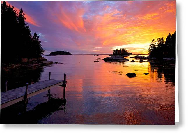 Maine Beach Greeting Cards - Dock at Sand Beach Greeting Card by Don Seymour