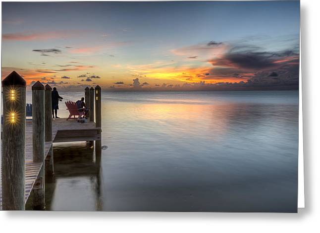 Ocean Shore Greeting Cards - Dock at sunset Greeting Card by Al Hurley