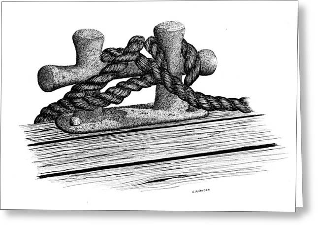 Dock Cleat Greeting Card by Ed Einboden