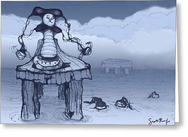 Cartoon Greeting Cards - Dock Jester Greeting Card by Scott Rolfe