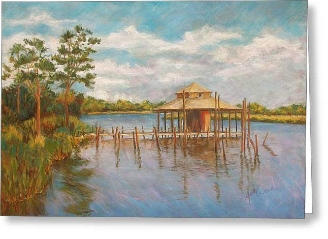 Docked Boats Pastels Greeting Cards - Dock on the Bon Secour Greeting Card by Ann Caudle